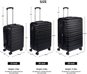 hardside luggage available in different sizes